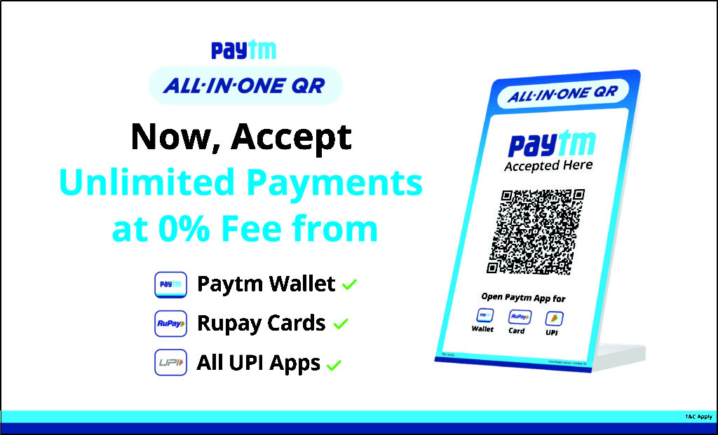 Paytm launches All-in-One QR for merchants with unlimited payments at 0% fee 1