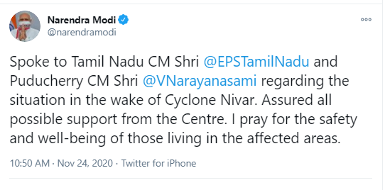 PM speaks to TN CM and Puducherry CM regarding the situation in the wake of Cyclone Nivar 1