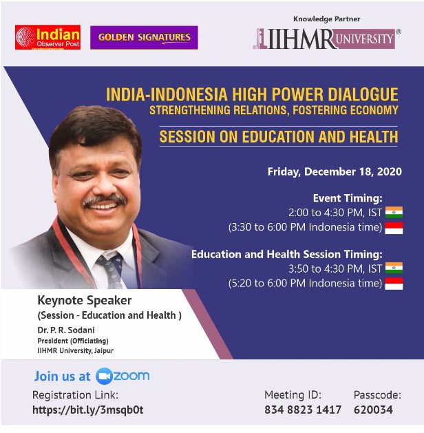IIHMR University represents India as a knowledge partner to high power dialogue between India and Indonesia 2020 1