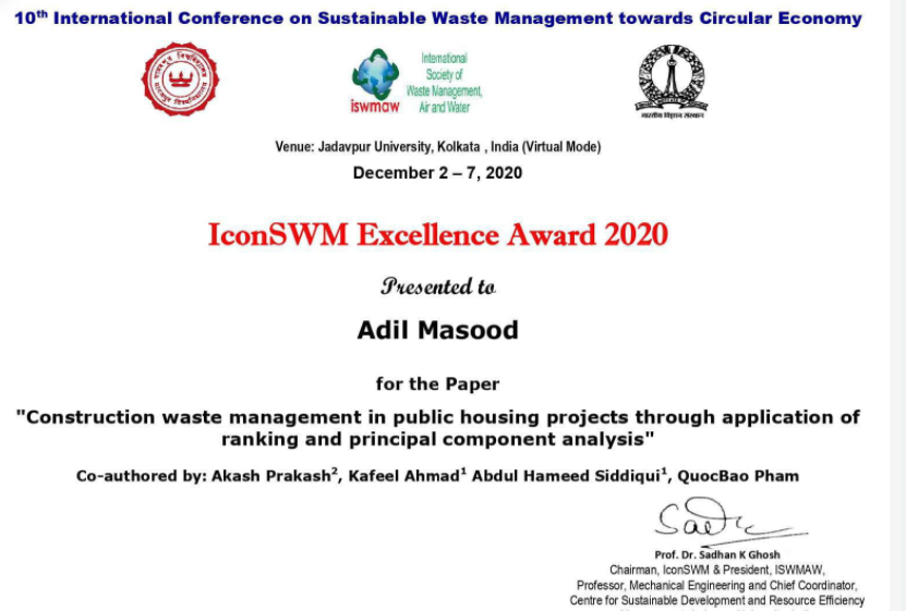 JMI research scholar gets ICON SWM Excellence Award 2020 1