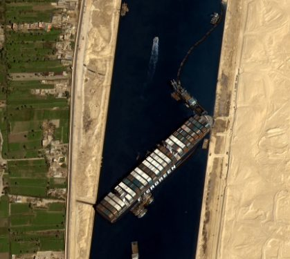 'Ever Given' which has blocked Suez Canal for almost a week now on the move 1