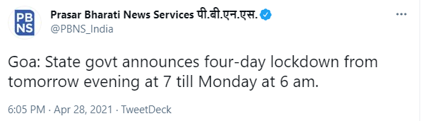 State govt announces 4-day lockdown from tomorrow evening at 7 till Monday at 6 am 1