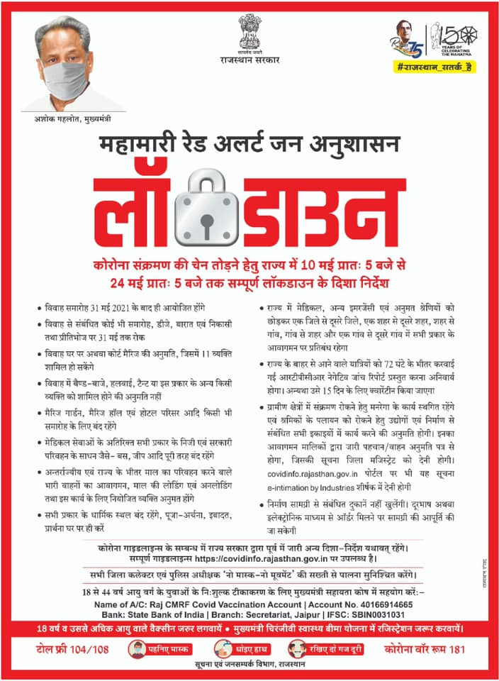 Rajasthan lockdown guidelines from 10th May to 24th May 1
