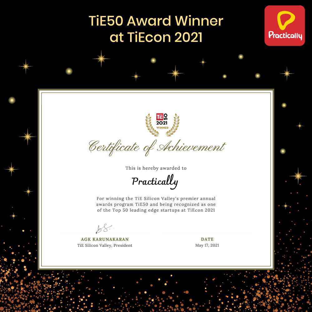 Practically Named TiE50 Award Winner at TiEcon 2021 1