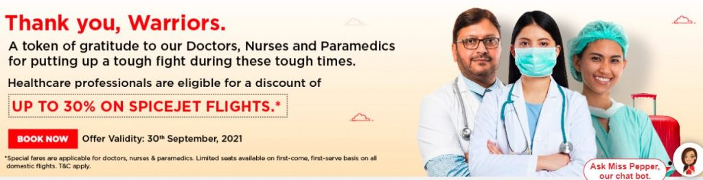 SpiceJet to offer up to 30% fare discount to healthcare professionals on its domestic network 1
