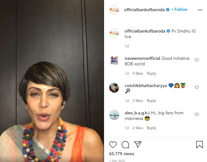 2x Olympic Medallist PV Sindhu interacts with fans in a Insta LIVE AMA session powered by Bank of Baroda 1