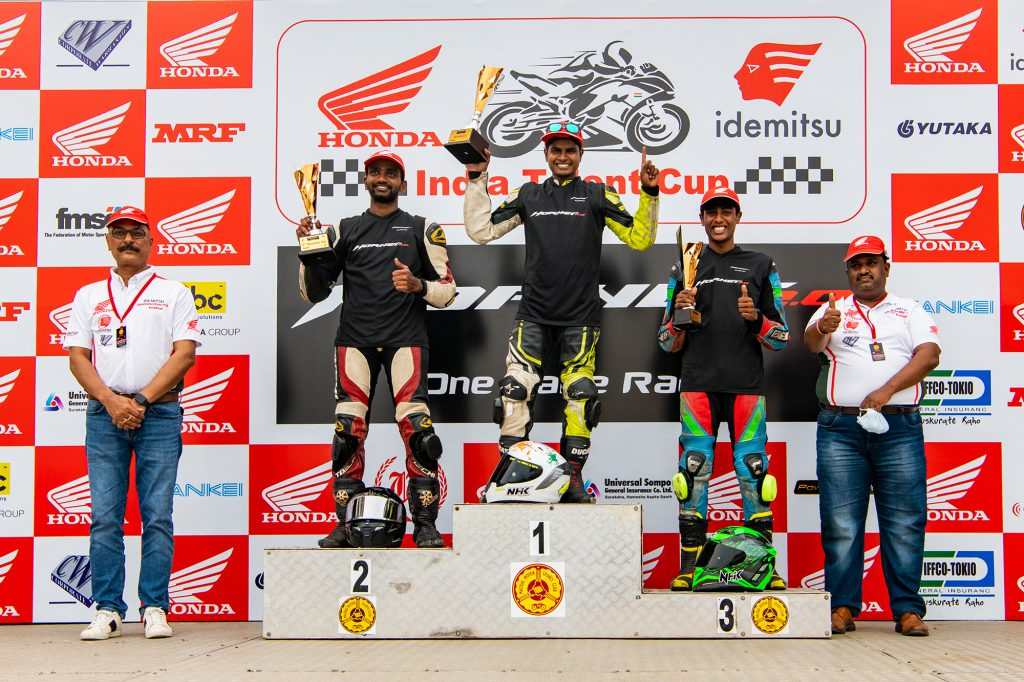Double podium finishes for IDEMITSU Honda SK 69 racing teamin Round 2 ofIndian National Motorcycle Racing Championship 2021 PS165cc 1