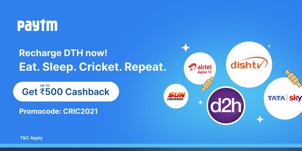 Paytm announces exciting cashback of up to ₹500 on DTH recharges for IPL and upcoming T20 World Cup season 1