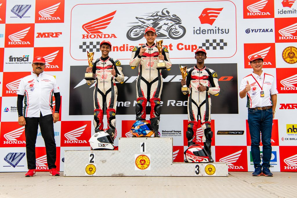 Double podium finishes for IDEMITSU Honda SK 69 racing team in Round 2 of Indian National Motorcycle Racing Championship 2021 PS165cc 1