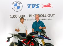 TVS Motor Company rolls out the 100,000 unit of the BMW 310cc series motorcycle from Hosur Facility 6